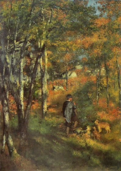 Renoir, Pierre Auguste: The Painter Le Coeur Hunting in the Fontainebleau Forest. Fine Art Print/Poster. Sizes: A4/A3/A2/A1 (004269)